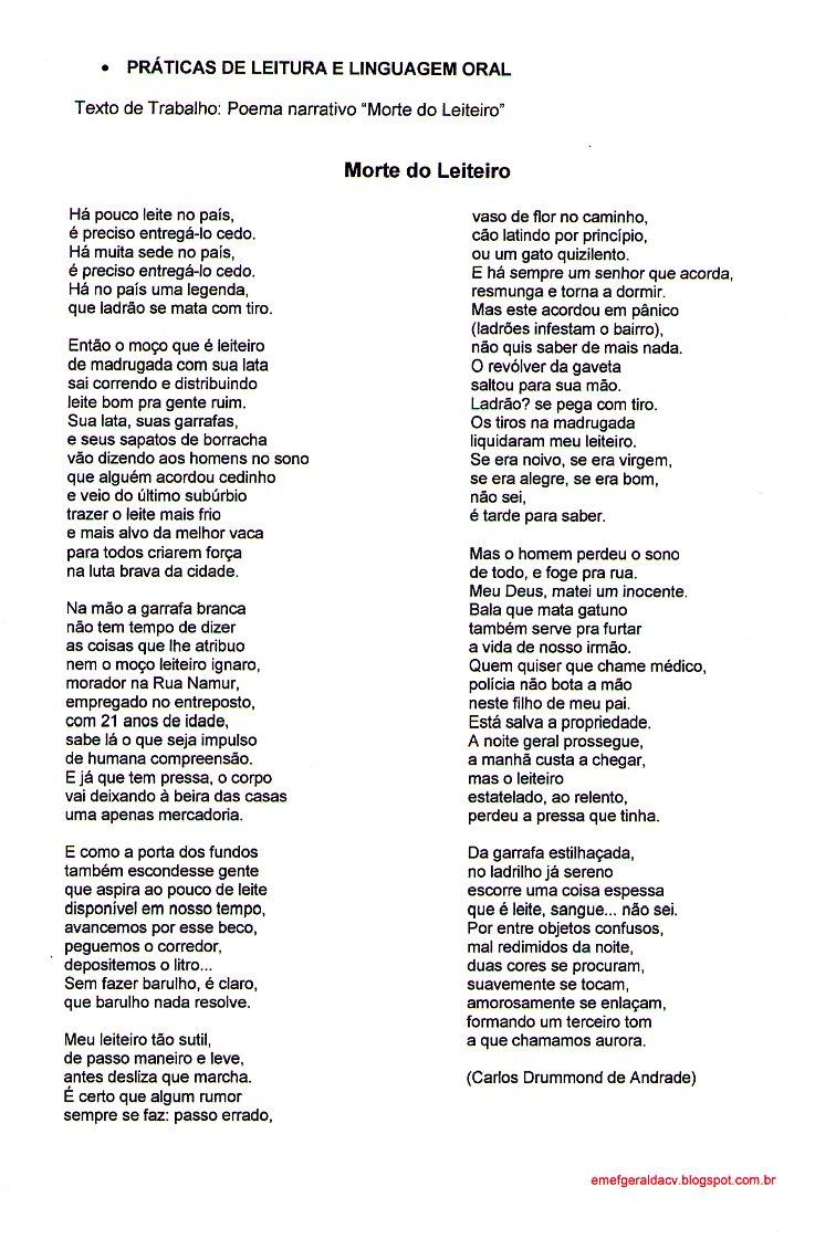 Blog Da Geralda Morte Do Leiteiro Sequência Didática Poema