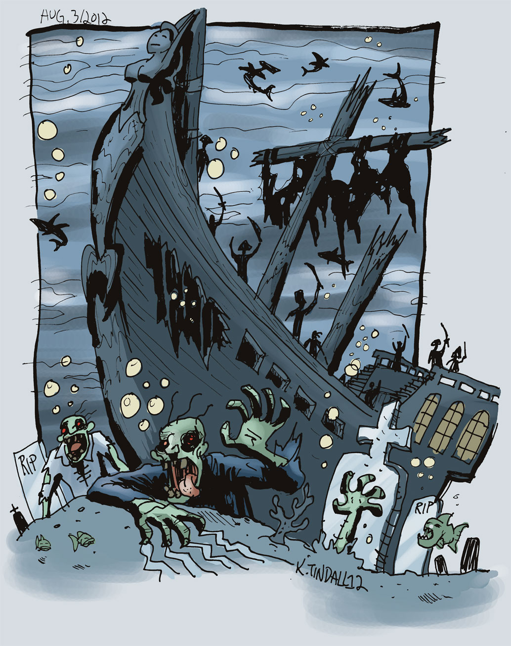 Sunken Ship Cartoon Zombies crawling out of sunken