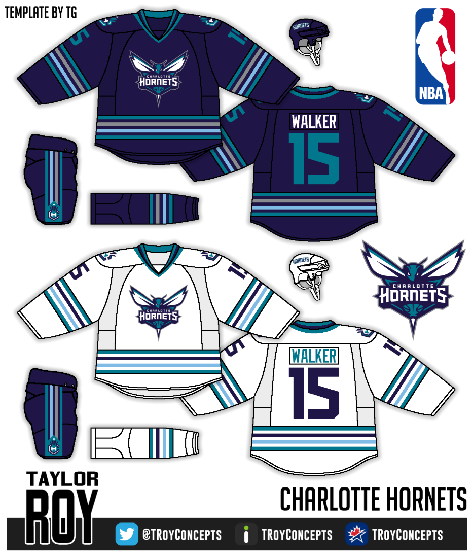 32273f9810ee Charlotte has one of the best logos in the NBA and a great color scheme. I  love this scheme on a hockey jersey. The striping is basically straight  from ...