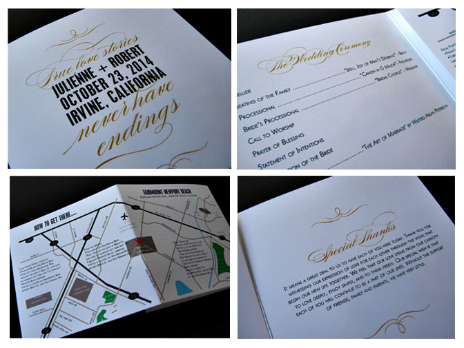 I present Julienne my newest wedding program A neat trifold panel with a