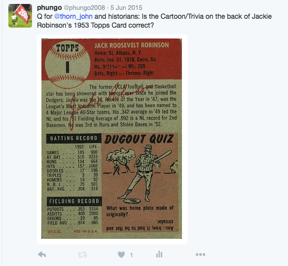 1953 Topps #1 Jackie Robinson and the First Topps Cartoon 1953 Topps #1 Jackie Robinson and the First Topps Cartoon Screen 2BShot 2B2016 01 31 2Bat 2B1