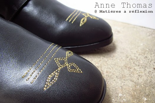 Anne Thomas bottines noir dorées