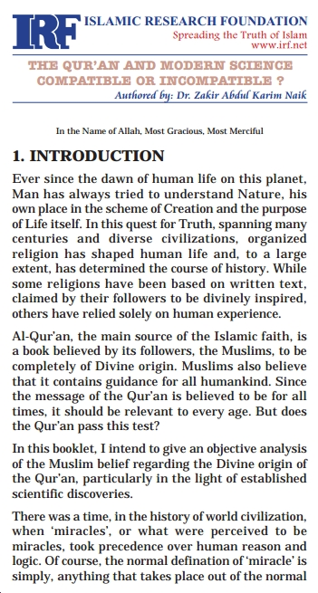 introduction of Qur'aan and modern science by zakir naik
