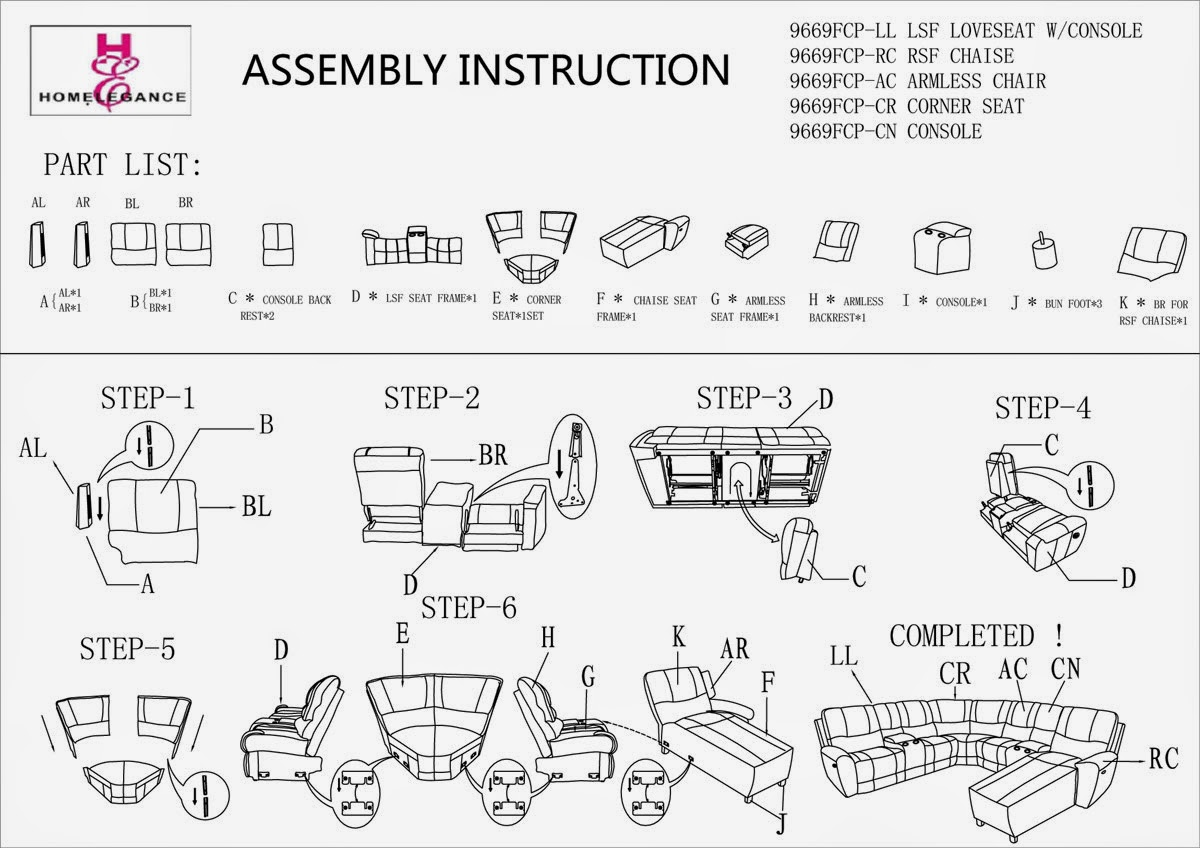 Homelegance Hankins 9669 Assembly Instructions Homelegance
