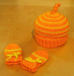 candy corn striped baby hat and mittens set