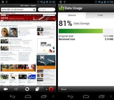 Opera Mini 7 Present in Android Devices