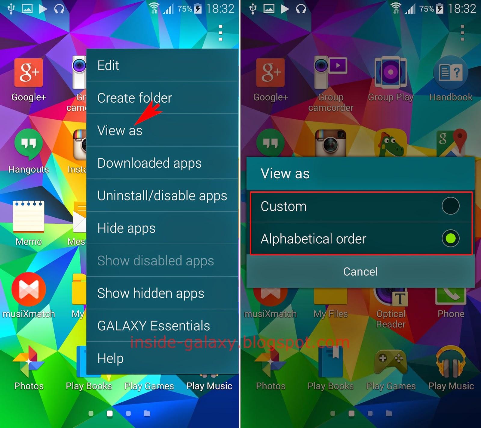 app menü samsung galaxy s5