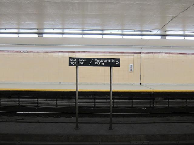 Keele station platform view of old speed ramp opening
