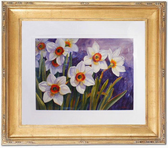Framing idea for Narcissus Flowers watercolor painting