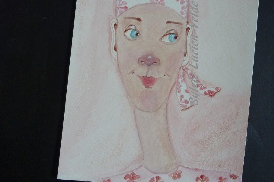Imprimé rose - ébauche sur papier - Sylvie Lucien-Velde