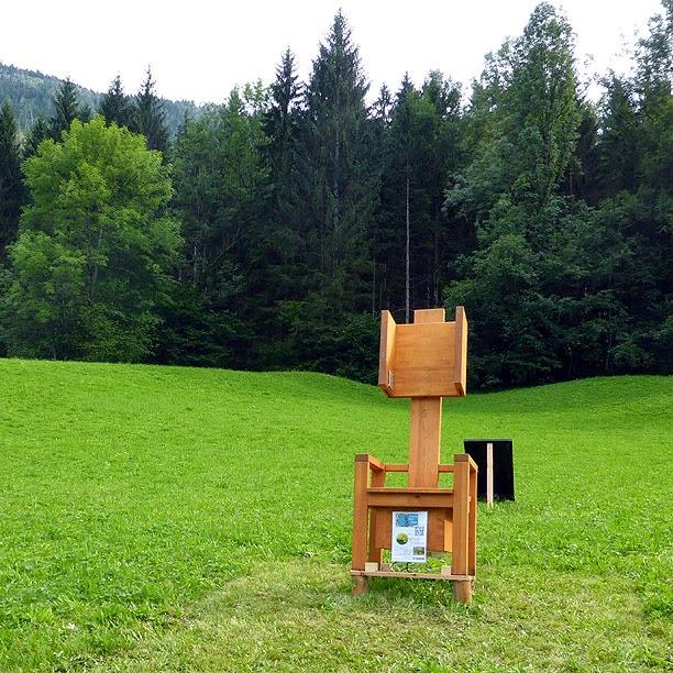 Der Lauscher, une oeuvre de Christine Roedelius, Lunz am See / photo S. Mazars