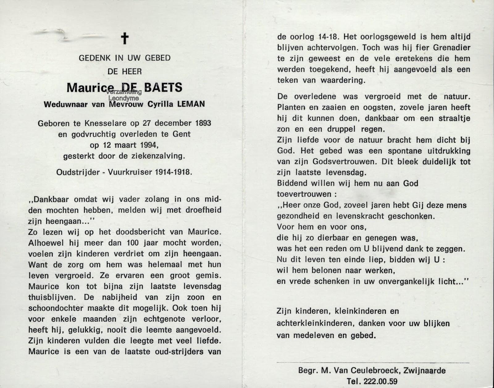 Bidprentje Maurice De Baets. Verzameling Leondyme.