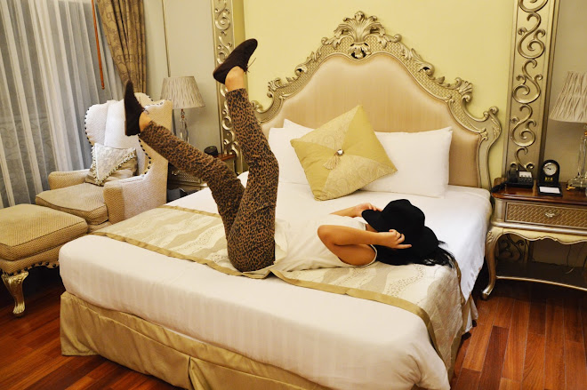 Leopard pants, oxfords, fedora, black, white, hotel, gold