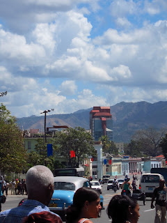Santiago de Cuba Hotel Melia rises in the distance