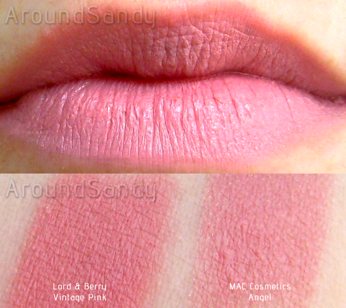 Vintage pink lord and berry swatches MAC angel clon