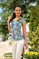 Bluza imprimeu floral albastru aqua (MBG)