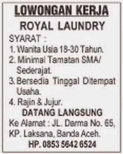 Loker Royal Laundry Banda Aceh Karir Aceh