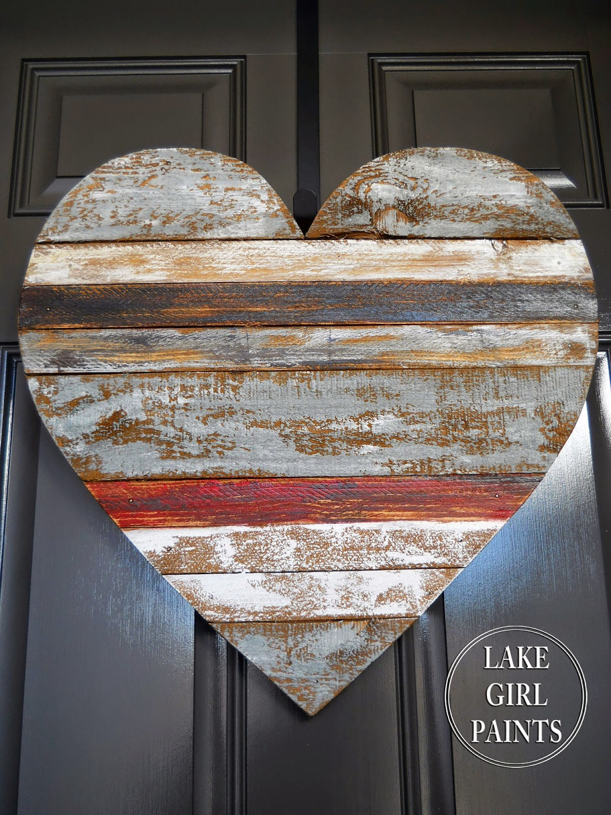 Lake girl paints wood scrap heart hanging for Wooden heart wall decor