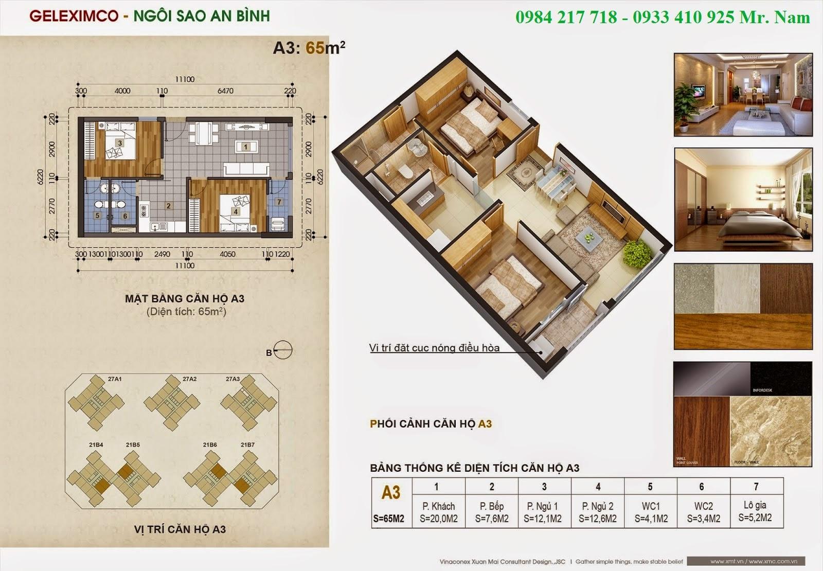 Thiết kế căn hộ A3 diện tích 65 m2 chung cư Green Stars