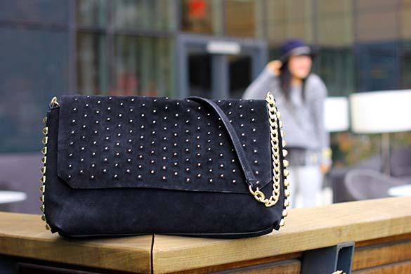 Zara Black Suede Studded Bag