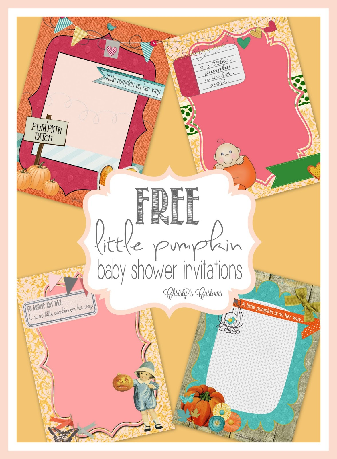 Little Pumpkin Baby Shower Invites  Free And Customizable!