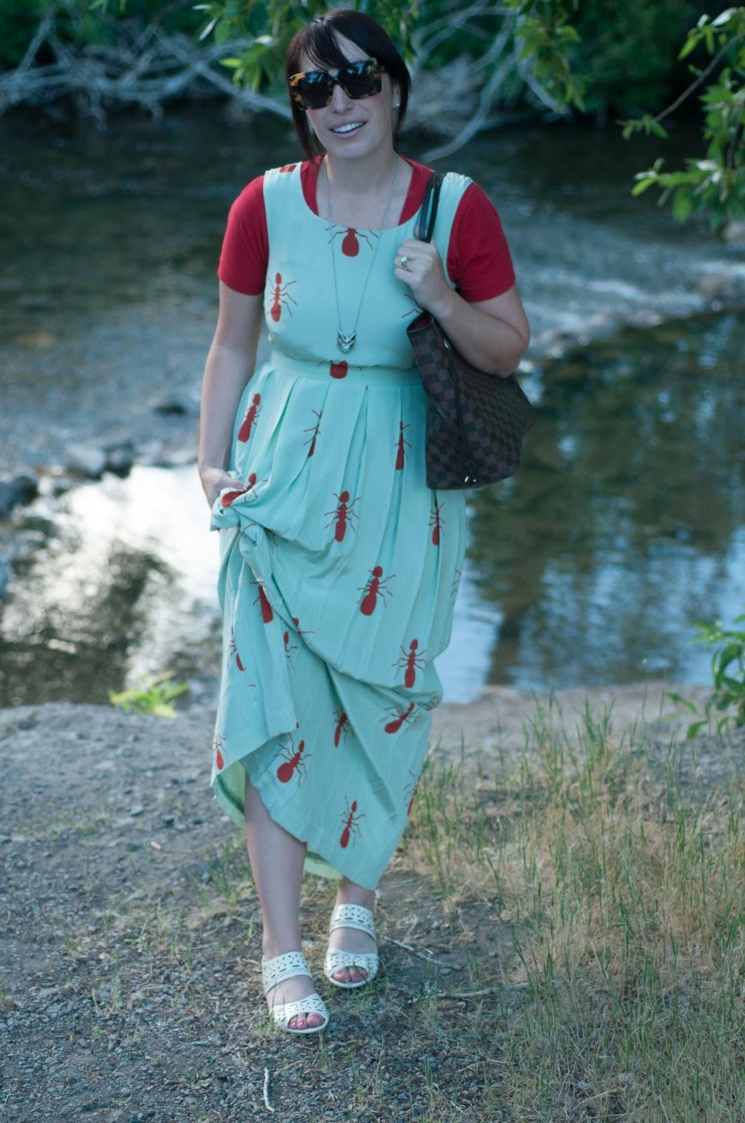 style blog, fashion blog, ootd, karen walker sunglasses, ant dress, charlotte taylor, anthropologie ootd