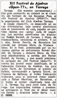 XII Festival de Ajedrez Tarrega 1977 en La Vanguardia