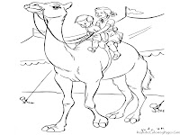 Kids Riding Camel Coloring Sheet