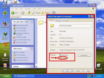 Learn how to unhide files and folders in windowsXP step8