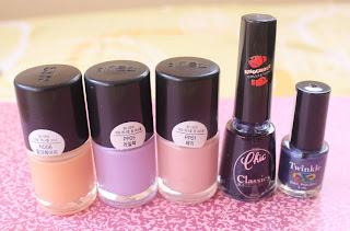 Mixed nail polishes with 3 Tony Moly nail polishes