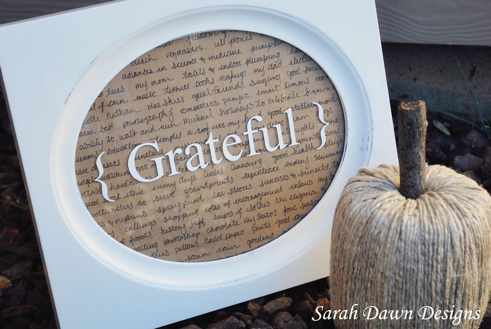 Sarah Dawn Designs: Attitude of Gratitude Frame