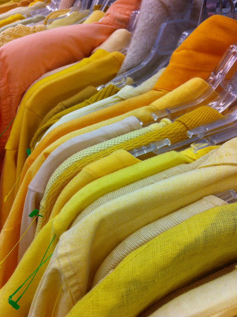 Vintage Yellow Shirts at Goodwill thrift store