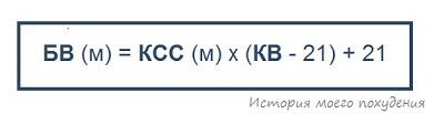 Формула биологического возраста (БВ) для мужчин