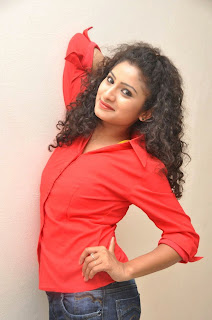 Vishnu Priya in Red Shirt and Denim Jeans new pics