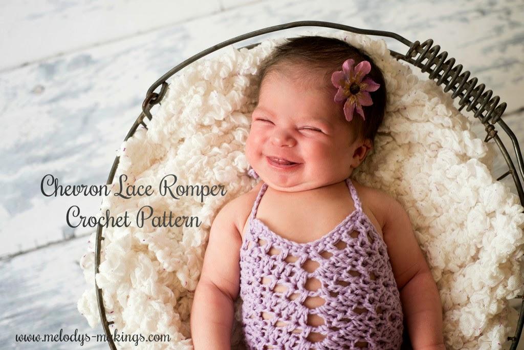 free crochet pattern chevron lace romper baby