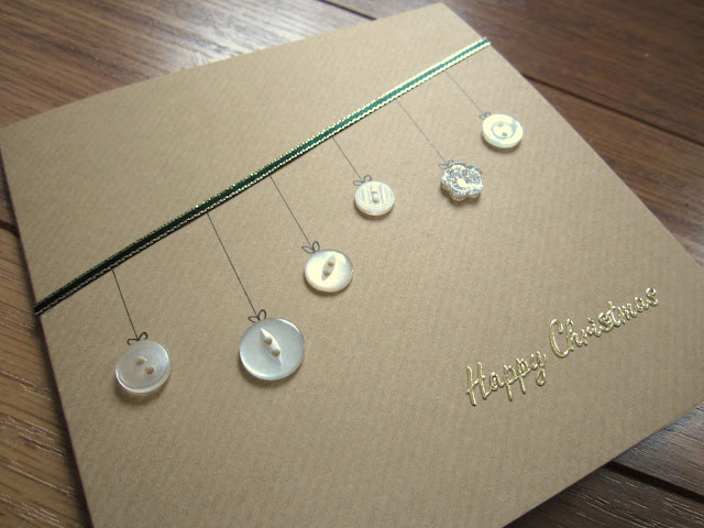 Homemade christmas cards button baubles