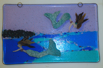 fused glass mermaid crackle tail fish scale assembled before firing