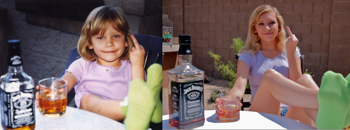 Girl With Jack Daniels Then And Now