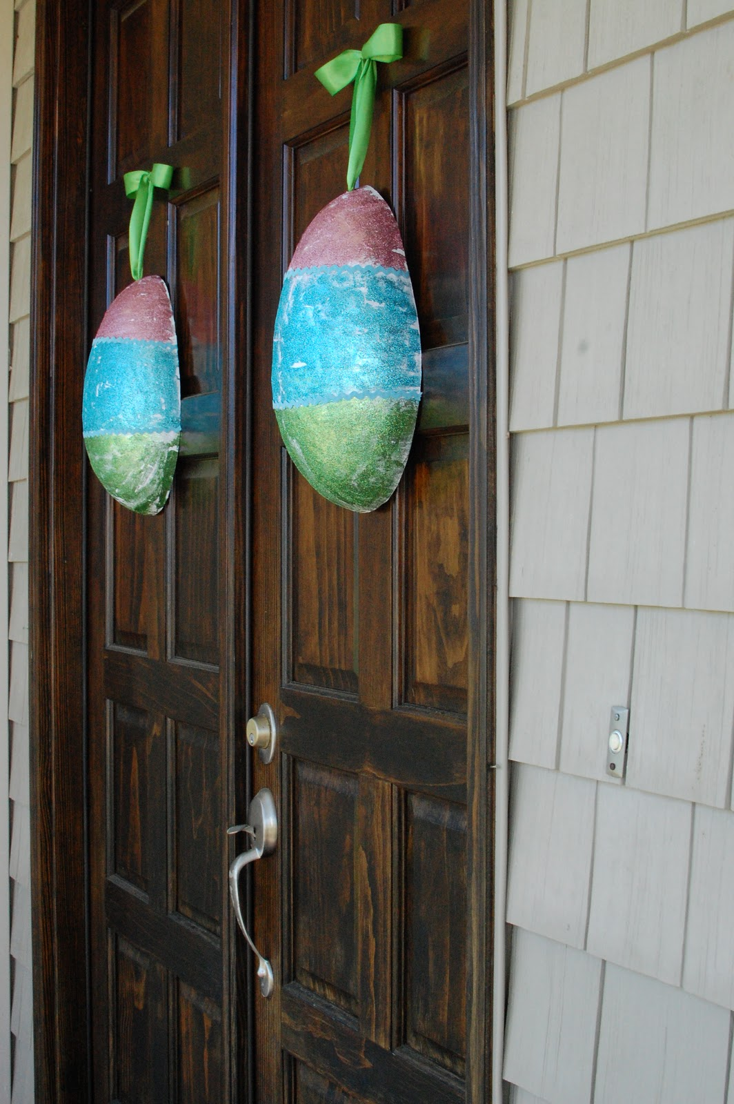 Random thoughts of a supermom paper mache easter eggs for 3 wreath door decoration