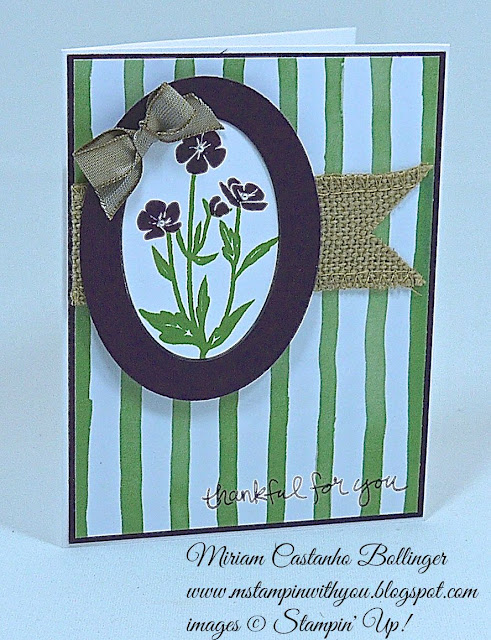 Miriam Castanho Bollinger, #mstampinwithyou, stampin up, demonstrator, ccmc, thank you, painted blooms dsp, wild about flowers, sheltering tree stamp set, big shot, oval collection framelits, burlap ribbon, su