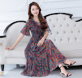 2017 Best Deal Half Trumpet Sleeve Red/Green Floral Chiffon Past Knee Length Dress