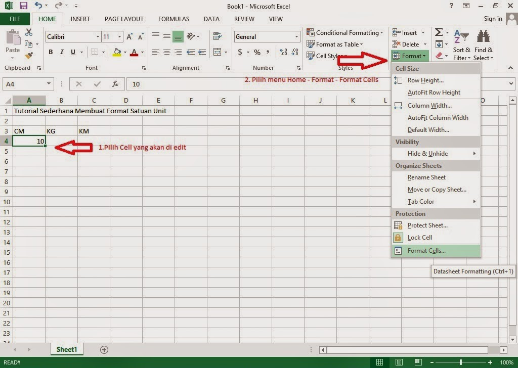 how to add cm unit excel