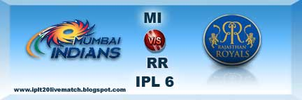 IPL 6 MI vs RR Highlight Match and MI vs RR Full Scorecards IPL 6 Point Table