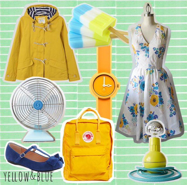 collage of yellow and blue items
