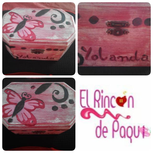 Joyero/Cajita de madera pintada a mano con pintura acrílica