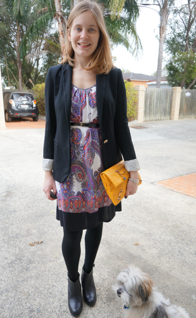 blazer dress ankle boots purple paisley print mangue yellow balenciaga clutch
