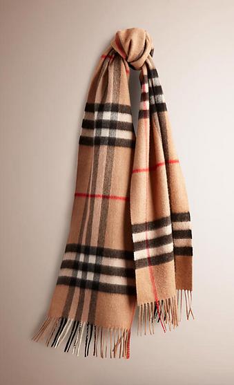 camel check burberry cashmere scarf