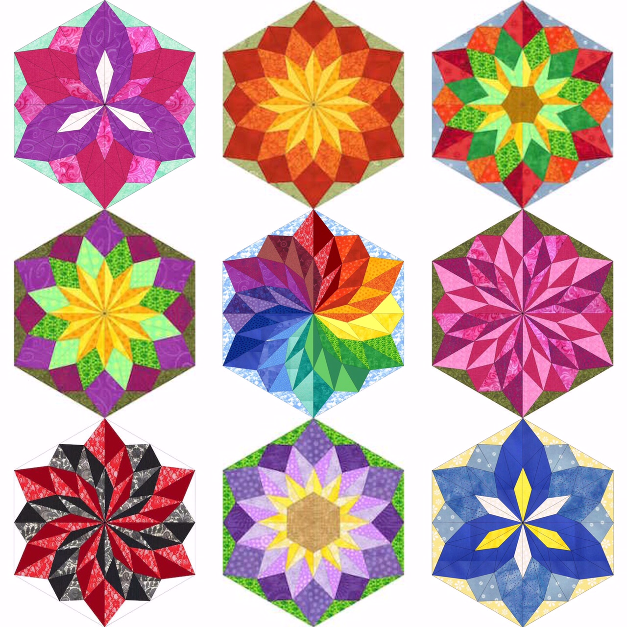 Quiltessa Patchwork palette Wish Flower 3 sizes pattern and tutorial now