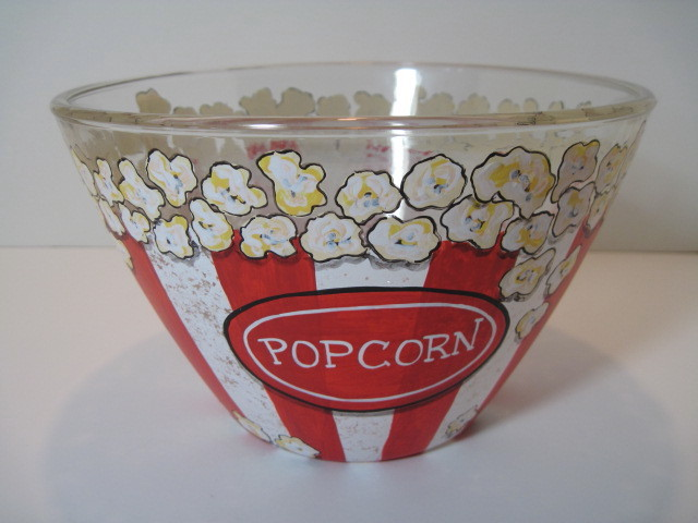 Custom Painted Large Popcorn Bowl