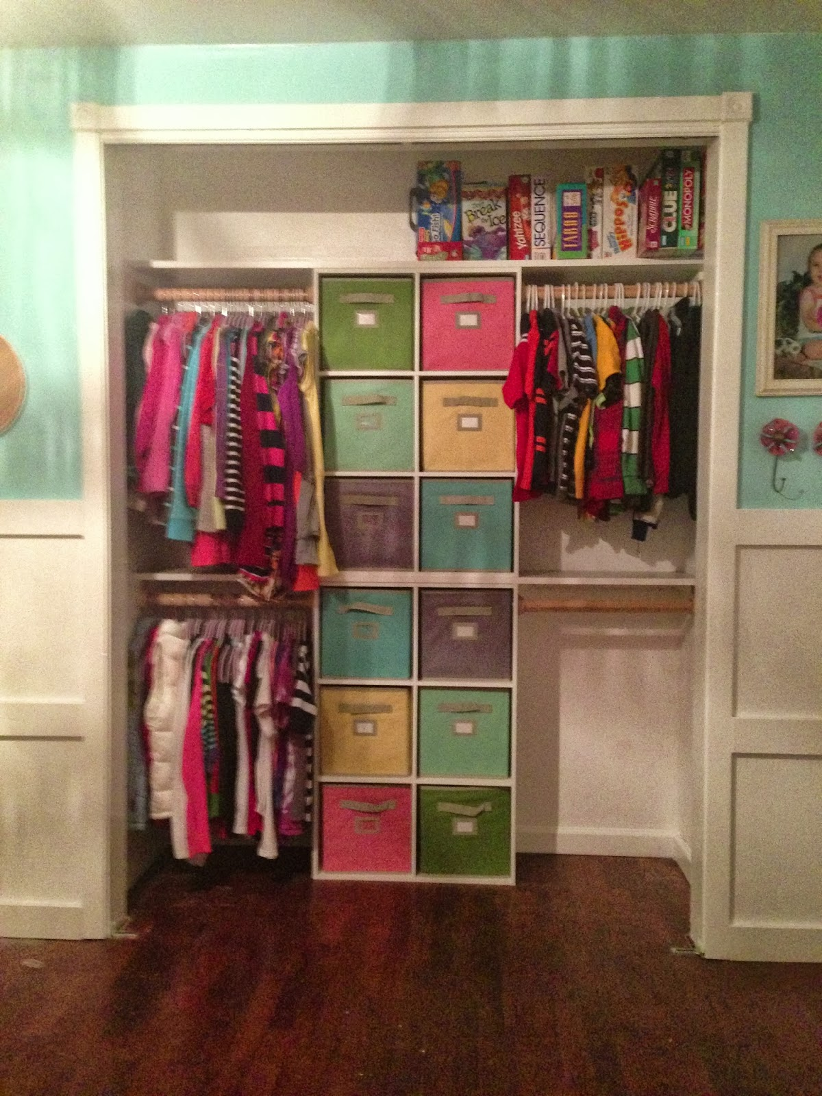 One thrifty chick quick fix closet organization for Kids room closet ideas